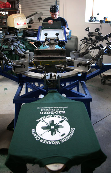 Gloo Factory Ink. screen printing t-shirts for Southside Workers Center