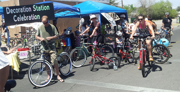 Cyclists were encourage to decorate their bikes with reflective stickers and decals at our Decoration Station.