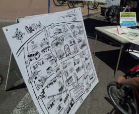 A custom illustrated map featuring many of South Tucson's businesses and sights.