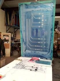 Oversize screen used to print on large plexiglass panel.