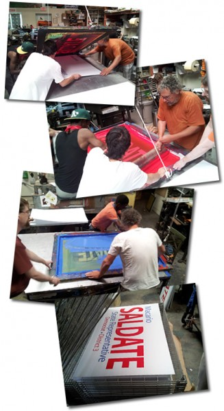 Screen printing process for yard signs.