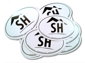 Oval die cut stickers - 1 color design.