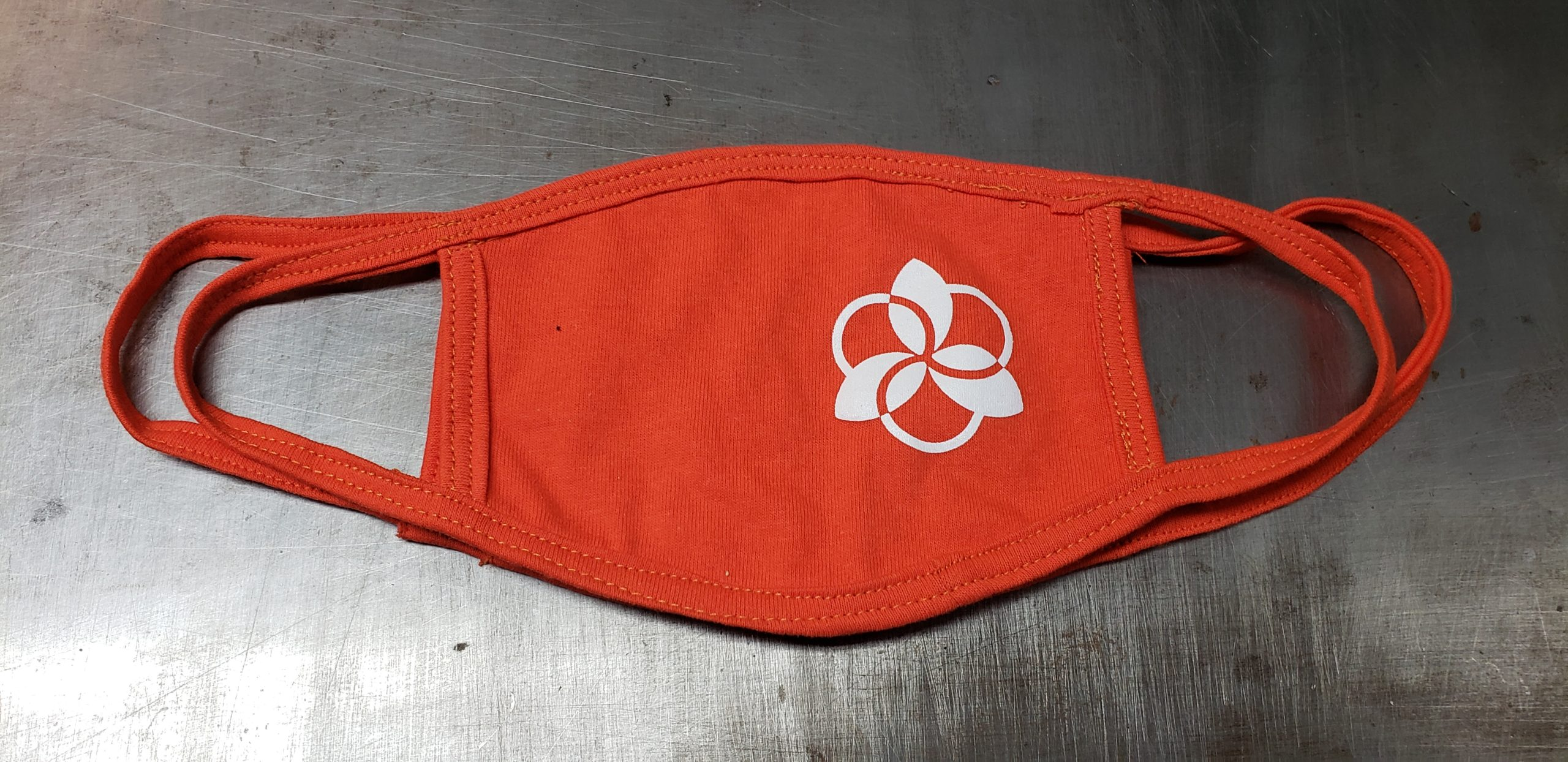 Orange cotton face mask with union screen printed one color design